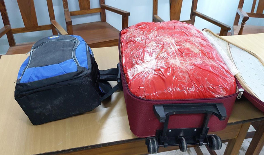 22KG GANJA recovered from a travel bag
