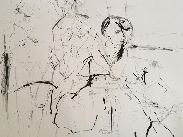 Ink drawing figures
