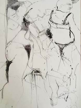 Figures ink drawing