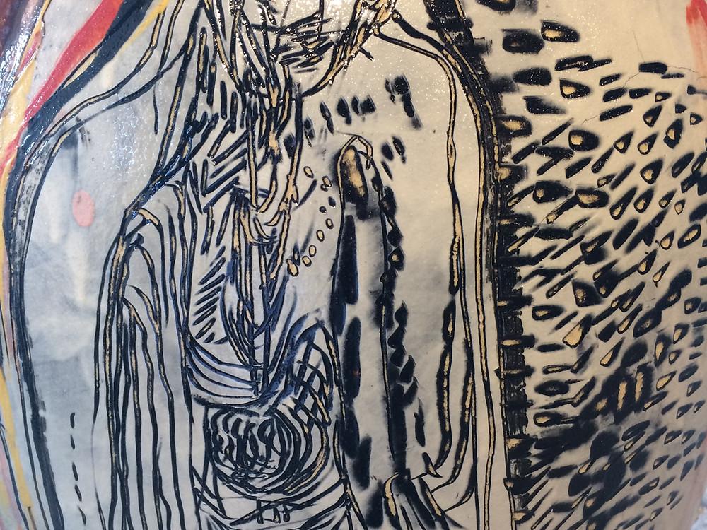 Motiv fra Peter Brandes krukke utstilt på Børglum Kloster