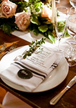 Bistro Napkin, Farm Table, Elegant Wedding, Elegant Place Setting, Wedding Menu Cards