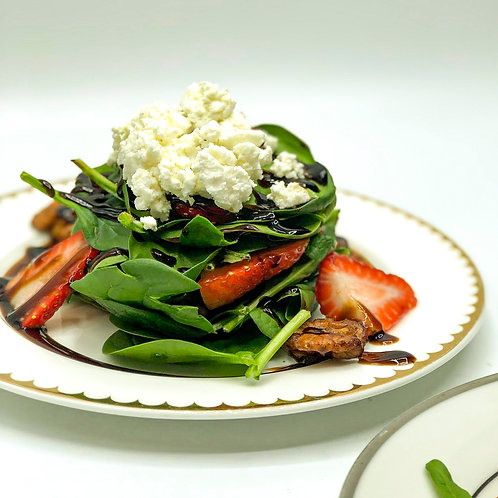 Strawberry and Spinach Salad w/ Goat Cheese, Candied Walnuts and Aged Balsamic