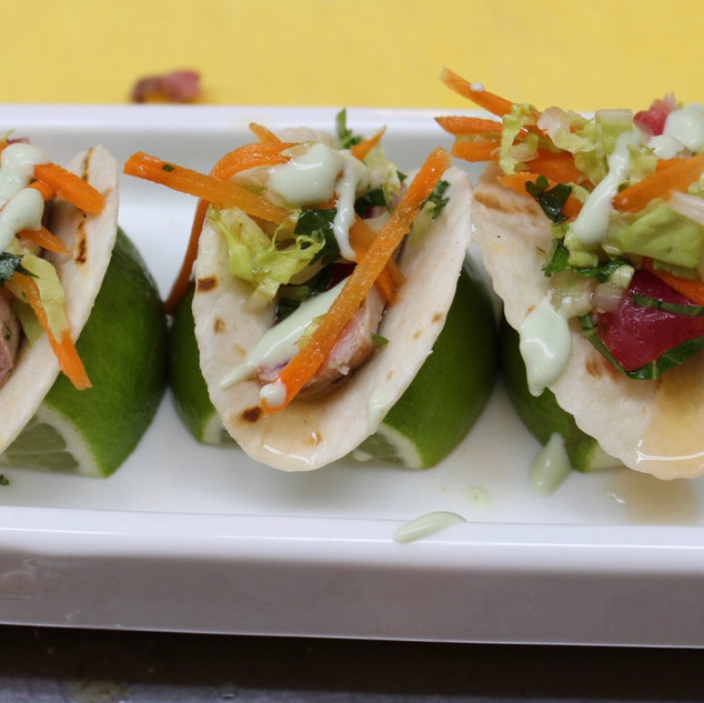 Mini Tuna Tacos w/ Wasabi Aioli