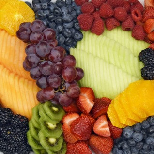 Fresh Sliced Seasonal Fruit Display w/ Berries and Honey-Lime Yogurt