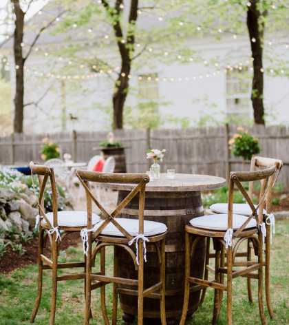 Wedding Rentals, Rustic Wedding, Rustic Decor, Barrel Tables, Backyard Wedding