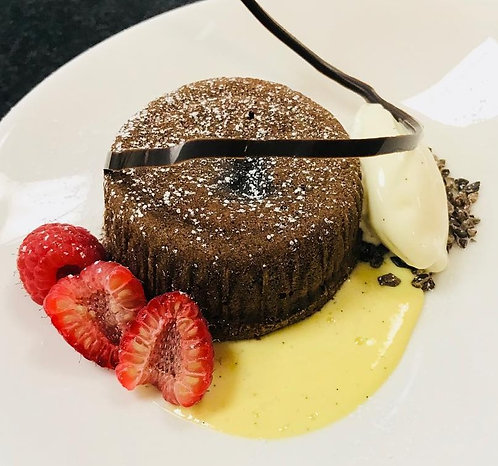 Lava Cakes w/ Creme Anglaise and Berries