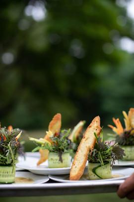 Cucumber Wrapped Salad w/ Mustard, Greens & Apple Soy Vinaigrette