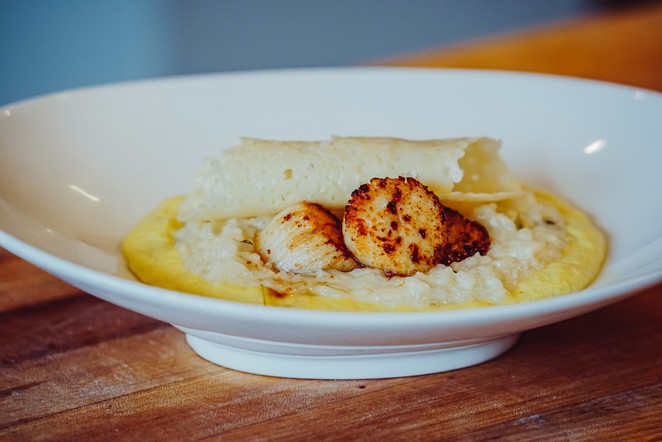 Caramelized Diver Scallops, Sweet English Pea Risotto in a Corn Milk Puree & Parmesan Abstract