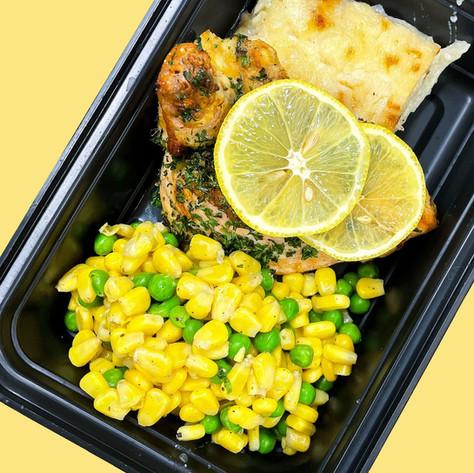 Lemon Herb Statler Chicken w/ Buttered Peas & Corn & side of Scalloped Potatoes