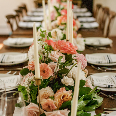 Table Settings, Farm Table, Floral Wedding, Banquet Table