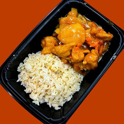 Orange & Ginger flavored Chicken w/ Roasted Garlic Rice
