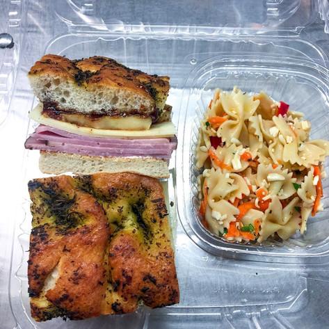 Ham & Swiss on Focaccia w/ Fig Jam, Grilled Apples, and Orange Dijon Mayo w/ a side of Pasta Salad