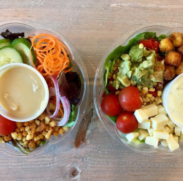 Fresh Garden Salad w/ Red Onion, Carrots, Tomatoes, Sliced Cucumber & Croutons w/ Balsamic Dressing  |  Southwest Salad w/ Romaine, Roasted Corn, Red Pepper, Red Onion, Avocado & Lime w/ Cilantro Dressing