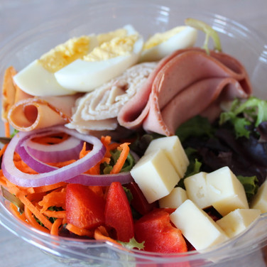 Chef's Salad – Ham, Turkey, Hard Boiled Egg, Tomato, Cucumber, Cheddar, Carrots, Red Onion & Ranch Dressing