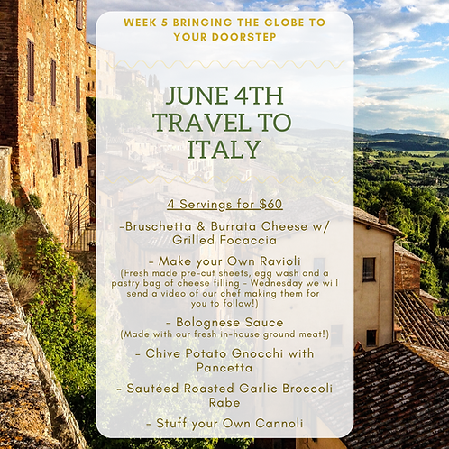 Week 5: Travel to Italy