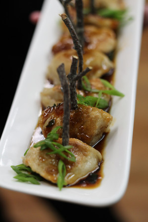 Chicken Pot Stickers w/ Sweet Soy Reduction