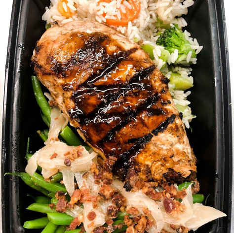 Greek Marinated Grilled Chicken w/ Green Beans, Onions, Bacon, and a Rice & Veggie Medley