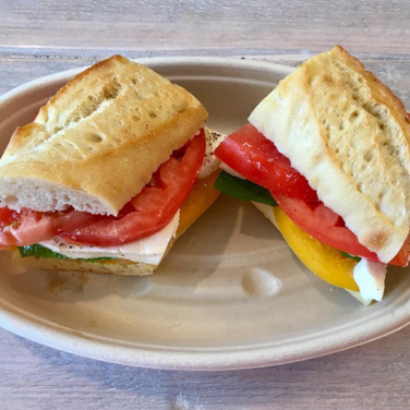 Tomato, Mozzarella & Basil on French Bread