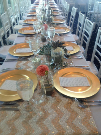 Gold Chargers, Chevron Linen, White & Gold Theme, Gold Place Setting, Gold China, White & Gold Party