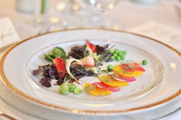 Spring Salad w/ Strawberries, Fava Beans & Fiddleheads