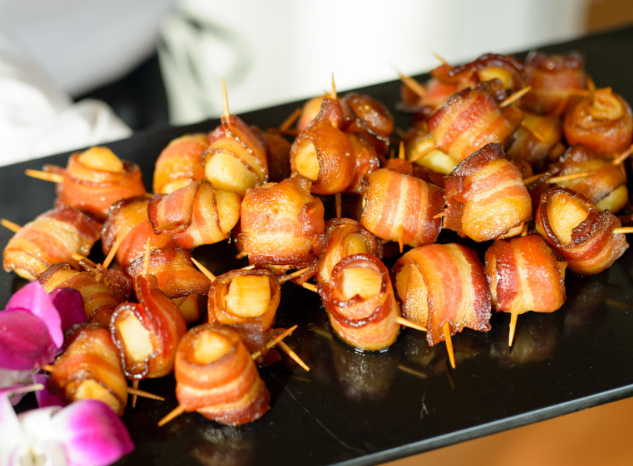Hand Wrapped Maple Glazed Scallops in Bacon