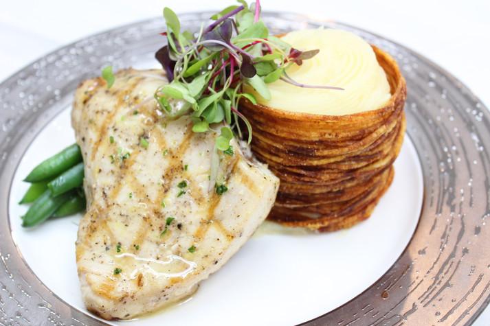 Grilled Swordfish and Potato Puree in a Potato Basket