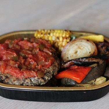 Vegan Black Bean Burger w/ Roasted Vegetables