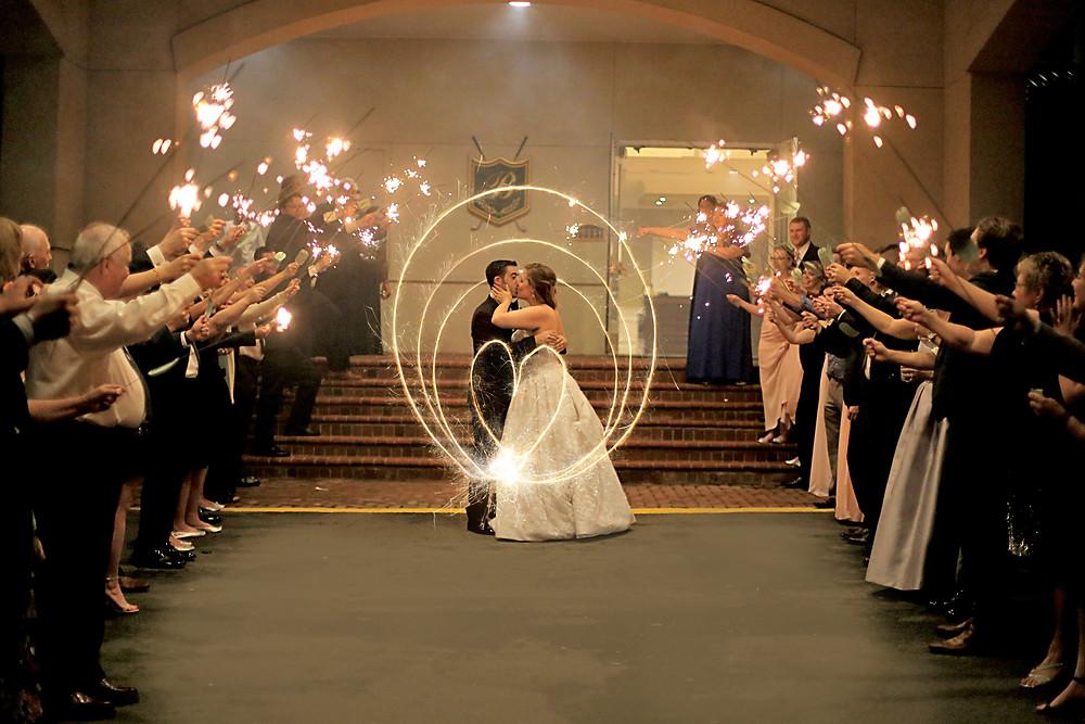sparkler exit night time wedding reception