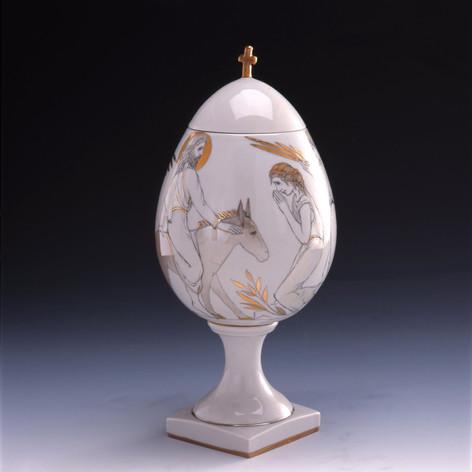 "Vāze-ola ""Kristus Ienākšana Jeruzālemē""   Ваза-Яйцо «Вход в Иерусалим»  Vase-Egg ""Jesus` Entry into Jerusalem"""