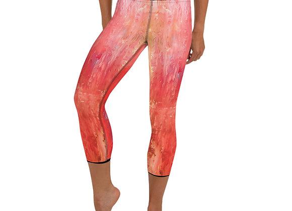 Abstract Orange Yoga Capri Leggings
