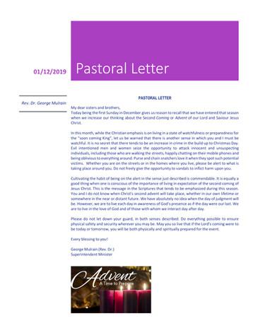 Pastoral Letter Dec 1, 2019