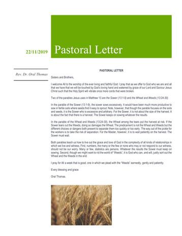Pastoral letter 24 Nov 2019