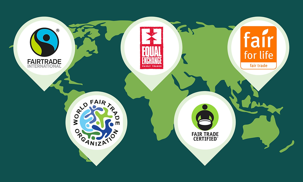 Five common Fair Trade logos overlaid on a map.