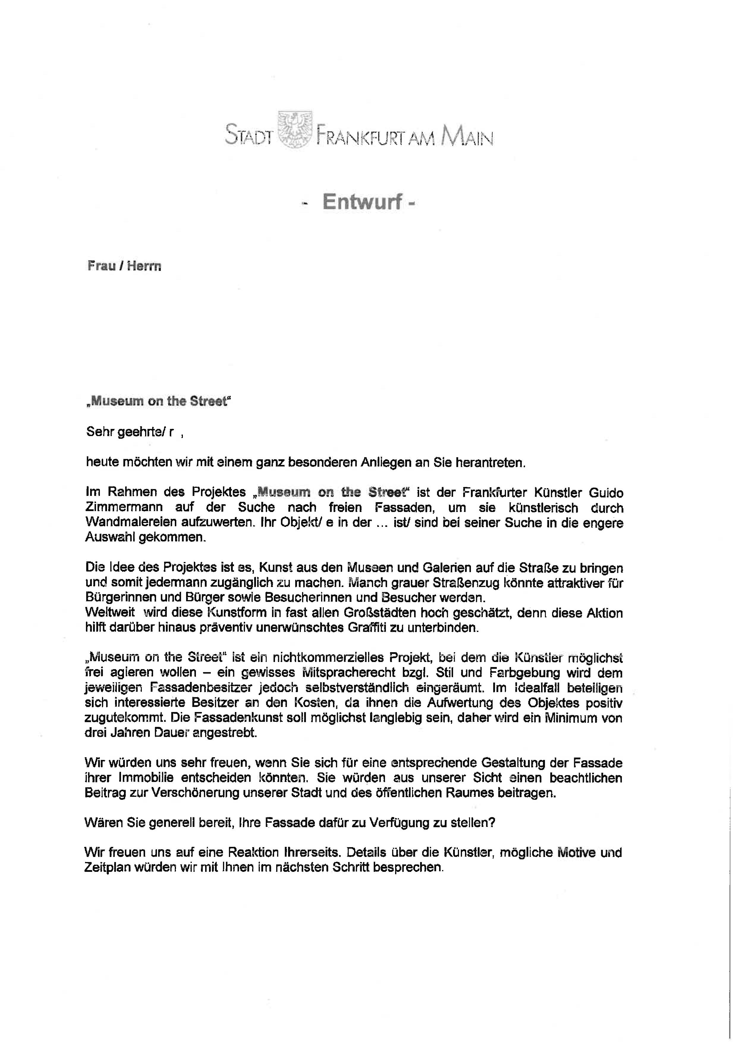 Der Offizielle Brief Von Der Stadt Frankfurt An Die Fassadenbesitzer