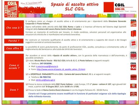 SLC ROMA CENTRO OVEST LITORANEA: APRE LO SPORTELLO ASCOLTO ATTIVO POSTE SEDE VIALE EUROPA.