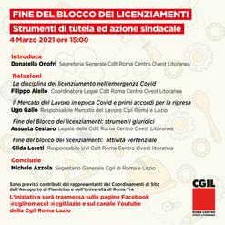 CGIL Roma Centro Ovest Litoranea: 4 marzo Seminario approfondimento aspetti giudici e sindacali.