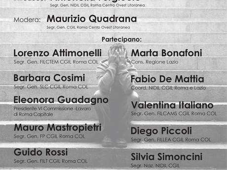 """NIDIL CGIL ROMA COL: 22 NOVEMBRE TAVOLA ROTONDA """"IL LAVORO POVERO""""."""