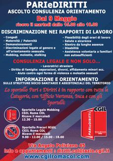CGIL ROMA COL. DONATELLA BRUNO : LO SPORTELLO PARIEDIRITTI CONTRO LE DISCRIMINAZIONI, LE MOLESTIE IL