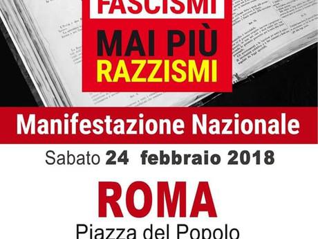 MAI PIU' FASCISMI: MANIFESTAZIONE NAZIONALE 24 FEBBRAIO A ROMA