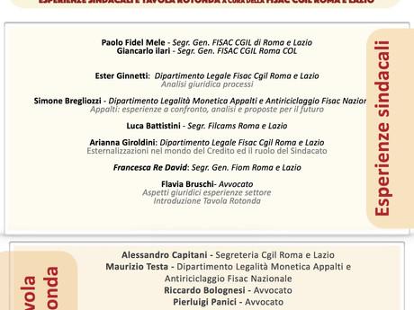 FISAC ROMA COL : ESTERNALIZZAZIONI E APPALTI RICOMPORRE IL CICLO PRODUTTIVO