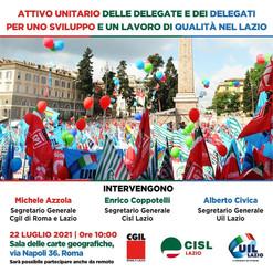 CGIL ROMA LAZIO: 22 LUGLIO ATTIVO UNITARIO CGIL CISL UIL ROMA LAZIO