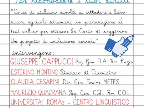 FLAI  CGIL ROMA COL: CONOSCERE L'ITALIANO PER RICONOSCERE I TUOI DIRITTI. UN PROGETTO DI REALE I