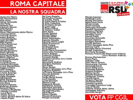 FP CGIL ROMA E LAZIO: ELEZIONI RSU ROMA CAPITALE ECCO LA NOSTRA SQUADRA
