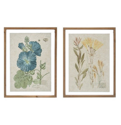 Wood Framed Wall Decor w Vintage Floral Image, 2 Styles by Creative Co-Op - 830088  Old Br