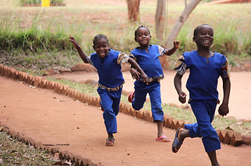 Running to school! So many things to learn and look forward to.