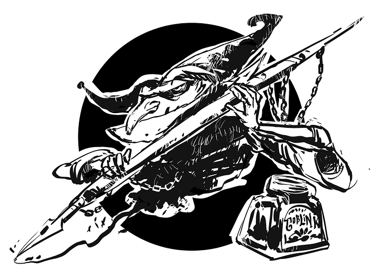 A black & white drawing of a small goblin writing with a big brush full of black ink.