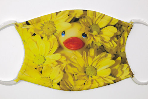 MUMS THE WORD mask - rubber ducky hiding in flowers makes fun photo face cover