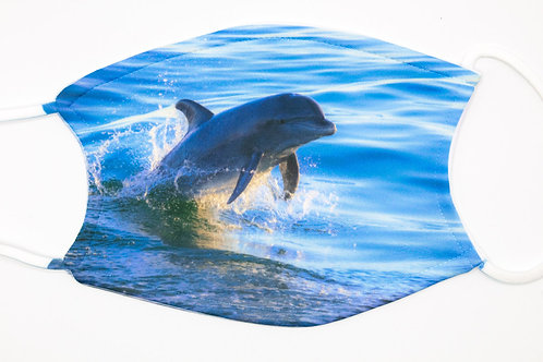 JET SKI mask - dolphin jumping and playing on playful photo face covering