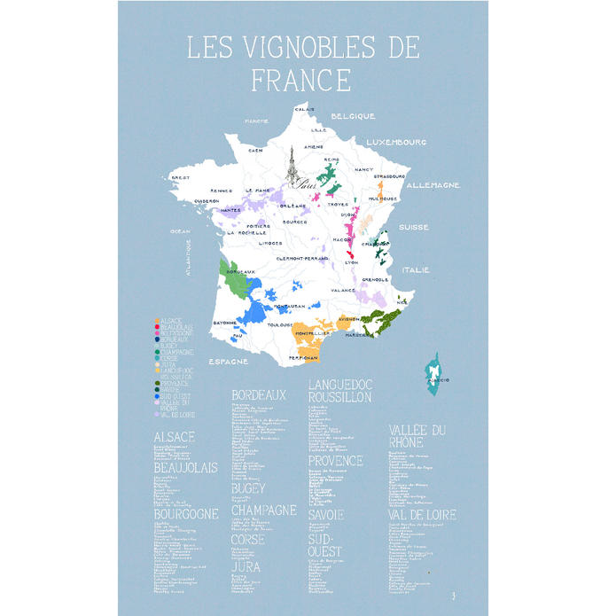 Self-initiated map of French vineyards. Hand-lettered and digitally worked into a print you can purchase here
