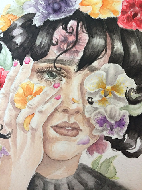 """Orchid's Bloom"" - Watercolor Portrait Print"